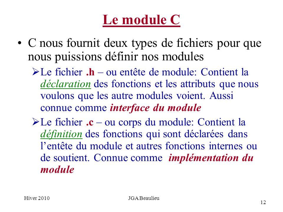 12 Hiver 2010JGA Beaulieu Le module C C nous fournit deux types de fichiers pour que nous puissions définir nos modules Le fichier.h – ou entête de module: Contient la déclaration des fonctions et les attributs que nous voulons que les autre modules voient.