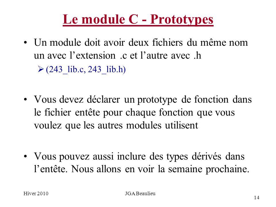 14 Hiver 2010JGA Beaulieu Le module C - Prototypes Un module doit avoir deux fichiers du même nom un avec lextension.c et lautre avec.h (243_lib.c, 243_lib.h) Vous devez déclarer un prototype de fonction dans le fichier entête pour chaque fonction que vous voulez que les autres modules utilisent Vous pouvez aussi inclure des types dérivés dans lentête.