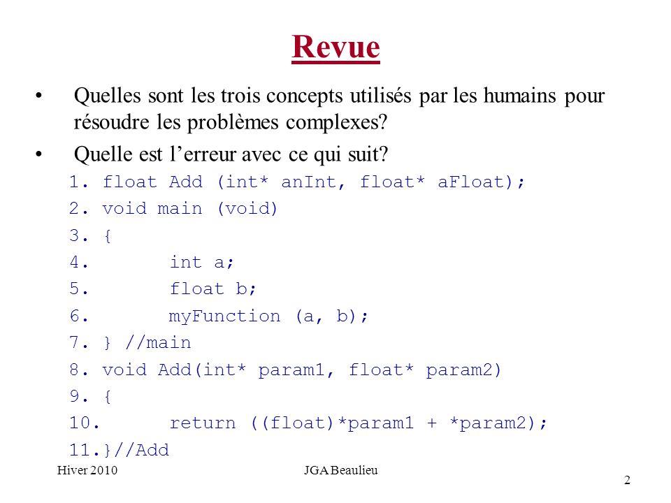 2 Hiver 2010JGA Beaulieu Revue Quelles sont les trois concepts utilisés par les humains pour résoudre les problèmes complexes.