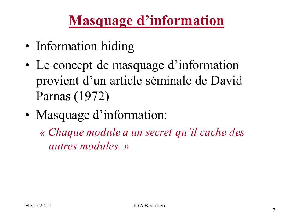 7 Hiver 2010JGA Beaulieu Masquage dinformation Information hiding Le concept de masquage dinformation provient dun article séminale de David Parnas (1972) Masquage dinformation: « Chaque module a un secret quil cache des autres modules.