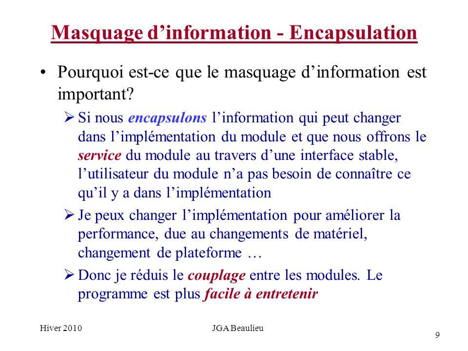 9 Hiver 2010JGA Beaulieu Masquage dinformation - Encapsulation Pourquoi est-ce que le masquage dinformation est important.
