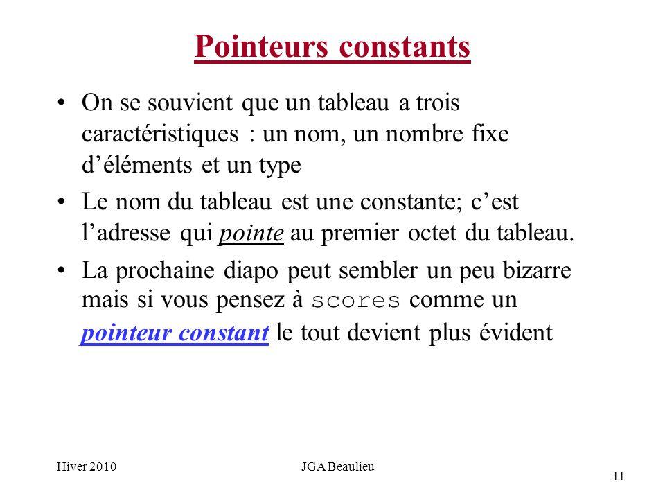 11 Hiver 2010JGA Beaulieu Pointeurs constants On se souvient que un tableau a trois caractéristiques : un nom, un nombre fixe déléments et un type Le nom du tableau est une constante; cest ladresse qui pointe au premier octet du tableau.