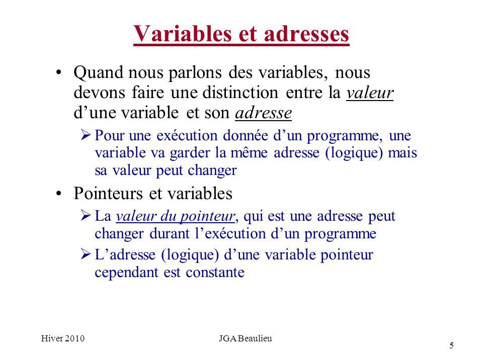 5 Hiver 2010JGA Beaulieu Variables et adresses Quand nous parlons des variables, nous devons faire une distinction entre la valeur dune variable et son adresse Pour une exécution donnée dun programme, une variable va garder la même adresse (logique) mais sa valeur peut changer Pointeurs et variables La valeur du pointeur, qui est une adresse peut changer durant lexécution dun programme Ladresse (logique) dune variable pointeur cependant est constante