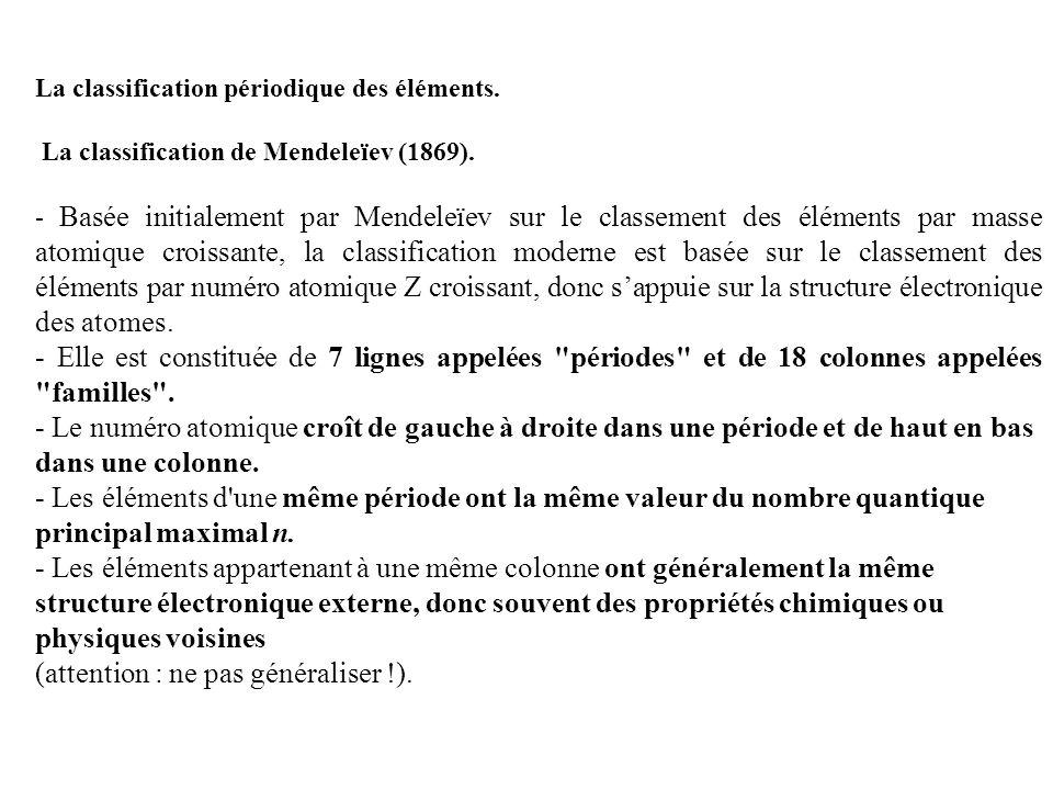 La classification périodique des éléments. La classification de Mendeleïev (1869). - Basée initialement par Mendeleïev sur le classement des éléments