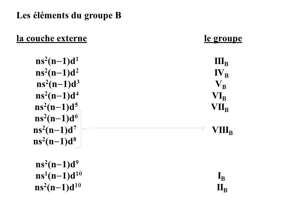 Les éléments du groupe B la couche externe le groupe ns 2 (n 1)d 1 III B ns 2 (n 1)d 2 IV B ns 2 (n 1)d 3 V B ns 2 (n 1)d 4 VI B ns 2 (n 1)d 5 VII B n