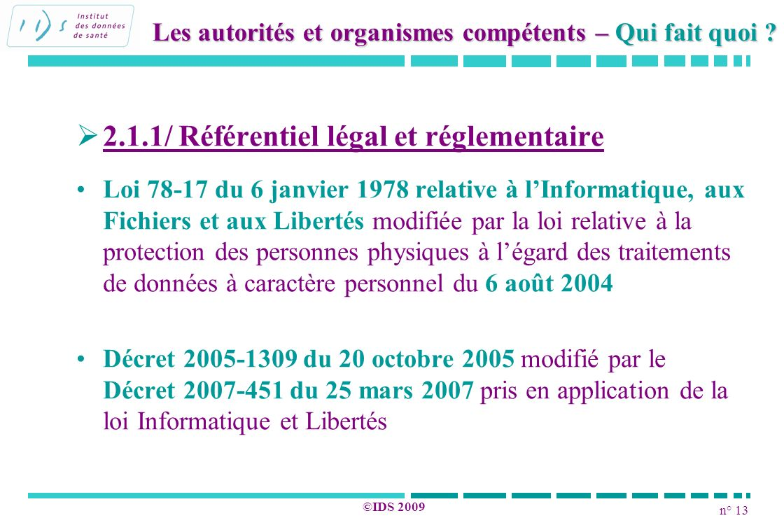 n° 13 ©IDS 2009 2.1.1/ Référentiel légal et réglementaire Loi 78-17 du 6 janvier 1978 relative à lInformatique, aux Fichiers et aux Libertés modifiée
