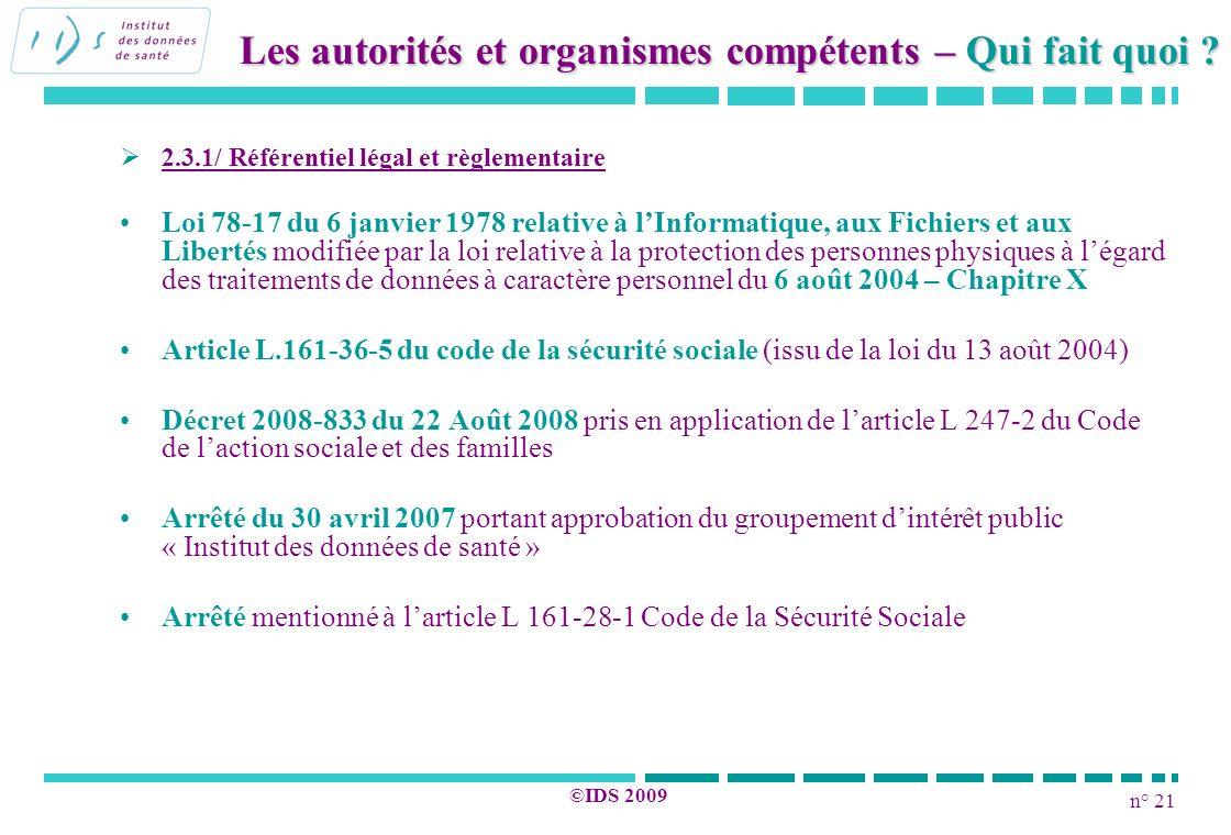 n° 21 ©IDS 2009 2.3.1/ Référentiel légal et règlementaire Loi 78-17 du 6 janvier 1978 relative à lInformatique, aux Fichiers et aux Libertés modifiée