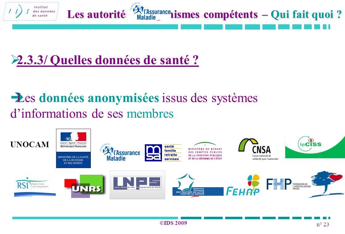 n° 23 ©IDS 2009 2.3.3/ Quelles données de santé ? Les données anonymisées issus des systèmes dinformations de ses membres UNOCAM Les autorités et orga
