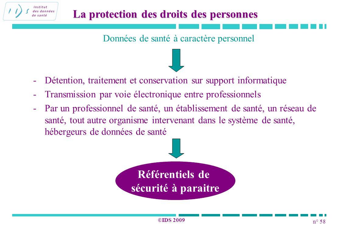 n° 58 ©IDS 2009 Données de santé à caractère personnel - -Détention, traitement et conservation sur support informatique - -Transmission par voie élec