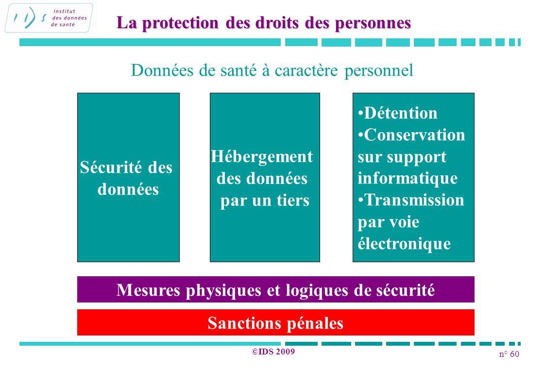 n° 60 ©IDS 2009 La protection des droits des personnes Sécurité des données Hébergement des données par un tiers Données de santé à caractère personne