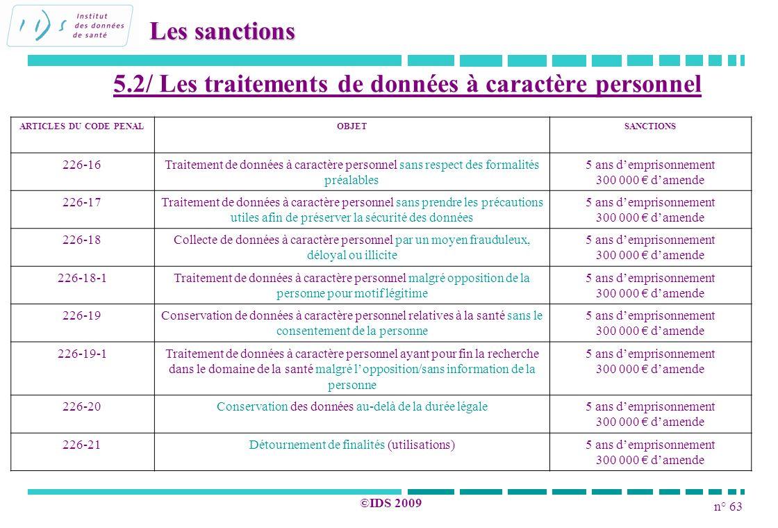 n° 63 ©IDS 2009 5.2/ Les traitements de données à caractère personnel Les sanctions ARTICLES DU CODE PENALOBJETSANCTIONS 226-16Traitement de données à