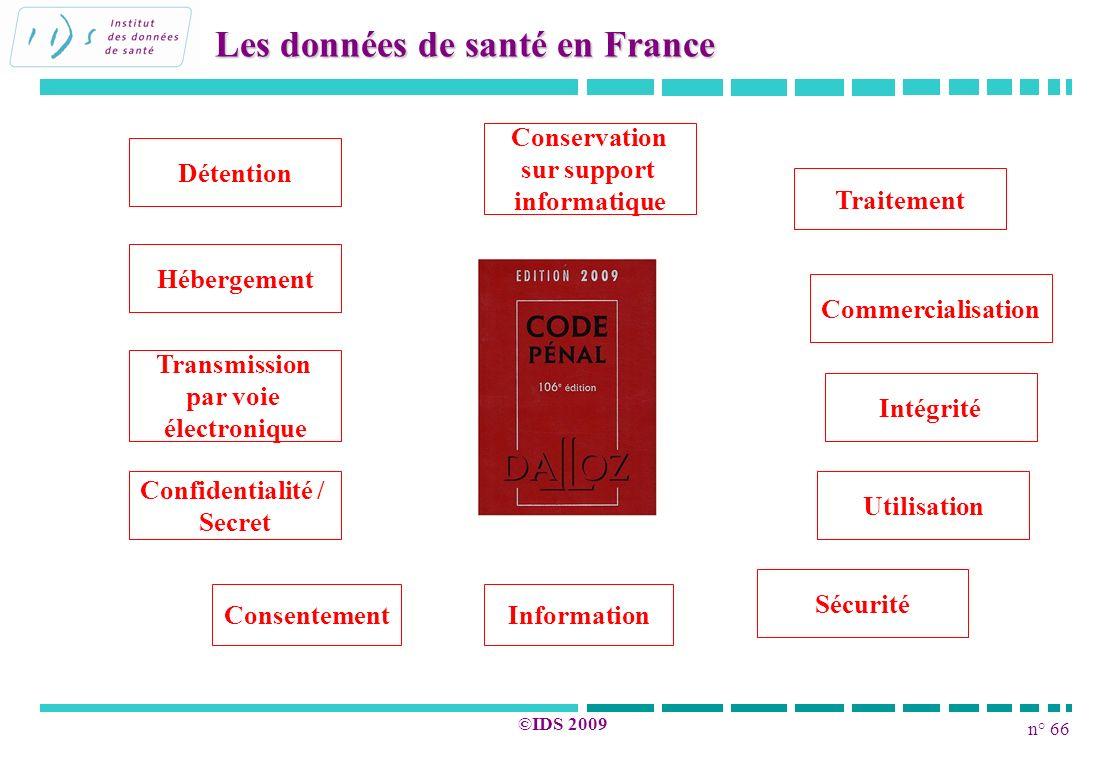 n° 66 ©IDS 2009 Les données de santé en France Traitement Détention Hébergement Conservation sur support informatique Transmission par voie électroniq