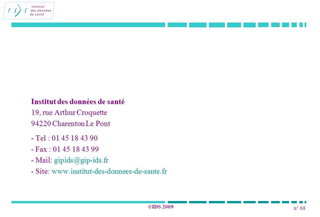 n° 68 ©IDS 2009 Institut des données de santé 19, rue Arthur Croquette 94220 Charenton Le Pont - Tel : 01 45 18 43 90 - Fax : 01 45 18 43 99 - Mail: g