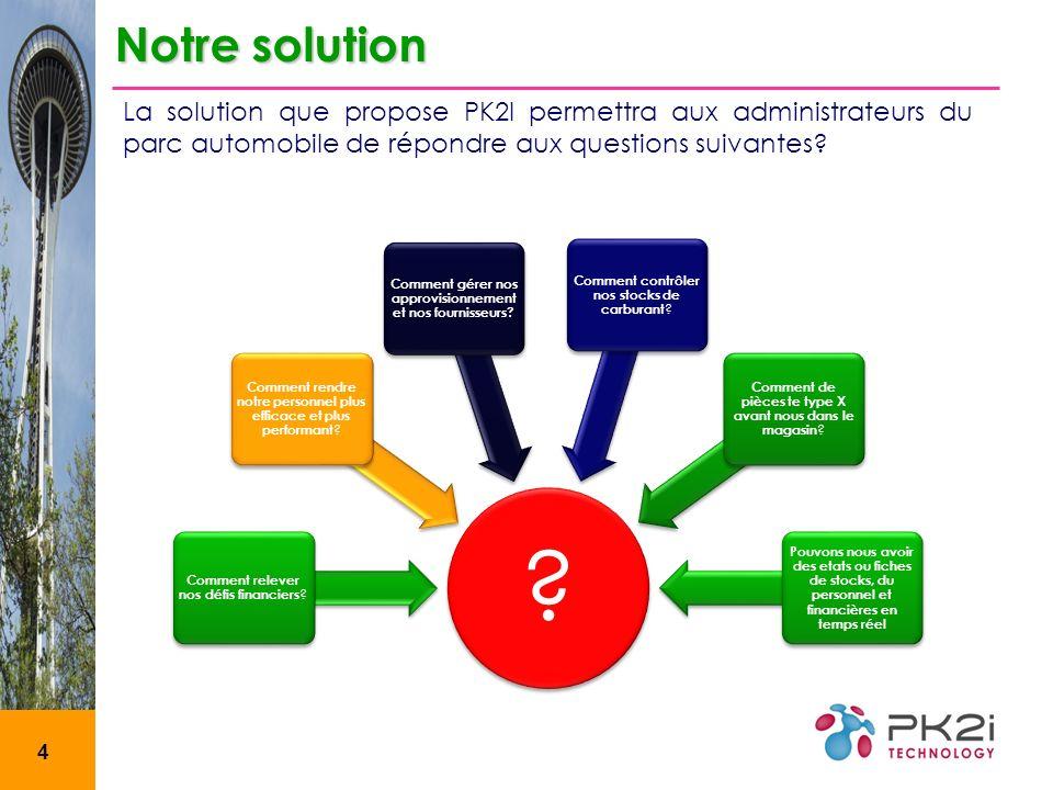 4 Notre solution La solution que propose PK2I permettra aux administrateurs du parc automobile de répondre aux questions suivantes.