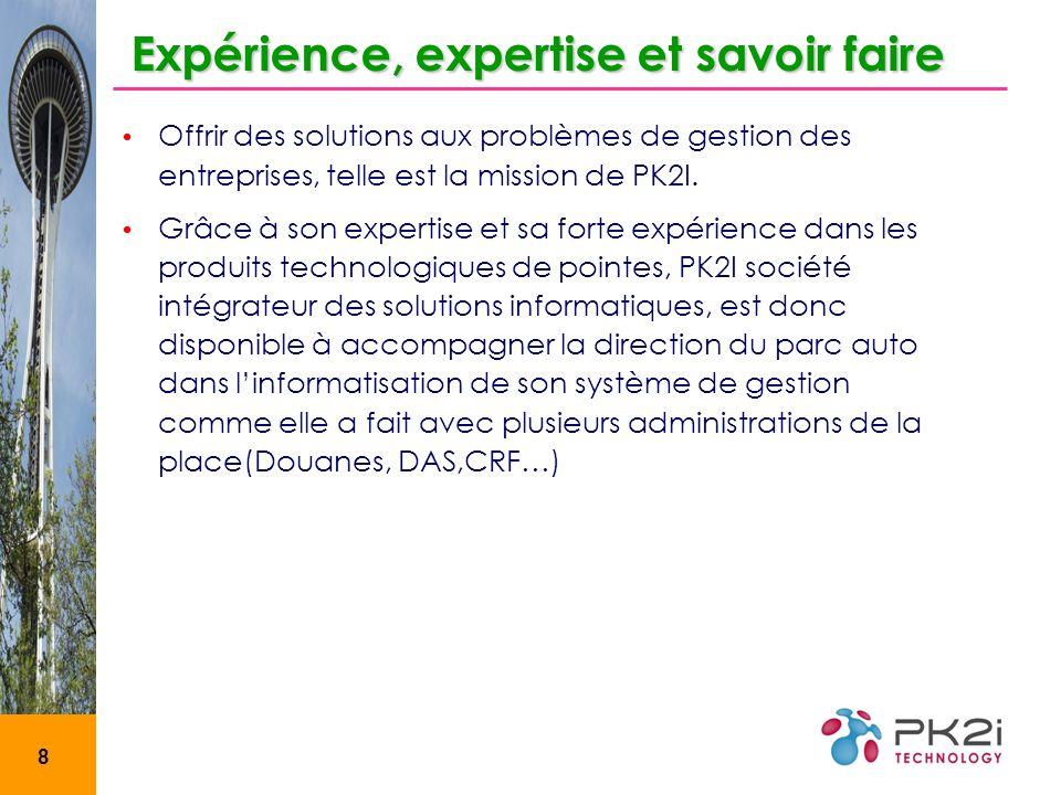 8 Expérience, expertise et savoir faire Offrir des solutions aux problèmes de gestion des entreprises, telle est la mission de PK2I.