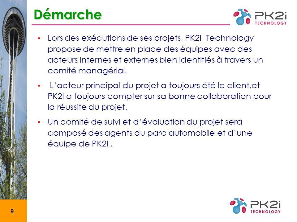 9 Démarche Lors des exécutions de ses projets, PK2I Technology propose de mettre en place des équipes avec des acteurs internes et externes bien identifiés à travers un comité managérial.