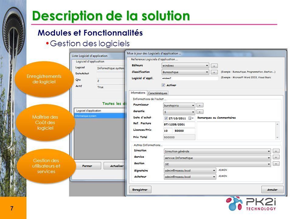 8 Etats Description de la solution Modules et Fonctionnalités Analyse des composantes par marques