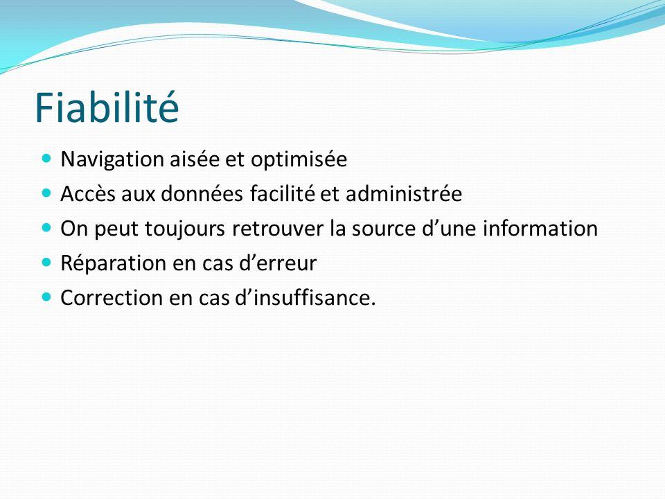 Fiabilité Navigation aisée et optimisée Accès aux données facilité et administrée On peut toujours retrouver la source dune information Réparation en