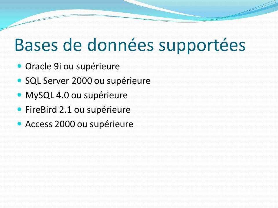 Bases de données supportées Oracle 9i ou supérieure SQL Server 2000 ou supérieure MySQL 4.0 ou supérieure FireBird 2.1 ou supérieure Access 2000 ou su