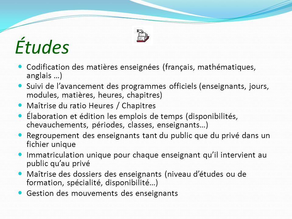 Études Codification des matières enseignées (français, mathématiques, anglais …) Suivi de lavancement des programmes officiels (enseignants, jours, mo