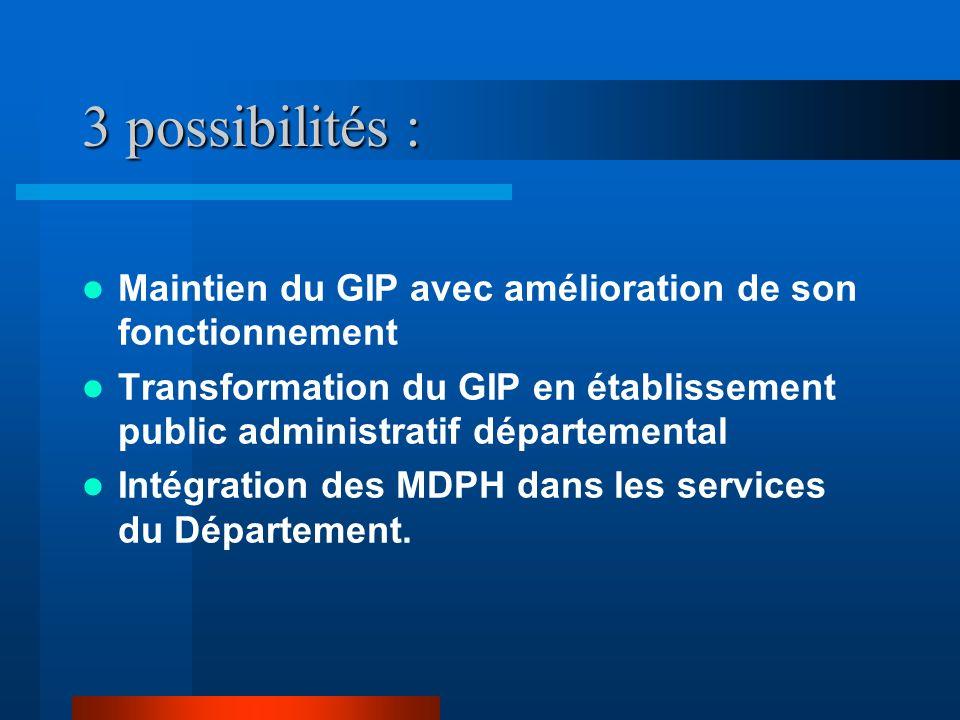 3 possibilités : Maintien du GIP avec amélioration de son fonctionnement Transformation du GIP en établissement public administratif départemental Intégration des MDPH dans les services du Département.