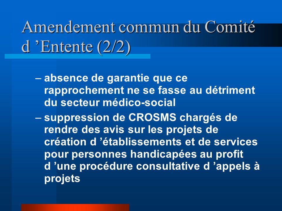 Amendement commun du Comité d Entente (2/2) –absence de garantie que ce rapprochement ne se fasse au détriment du secteur médico-social –suppression de CROSMS chargés de rendre des avis sur les projets de création d établissements et de services pour personnes handicapées au profit d une procédure consultative d appels à projets