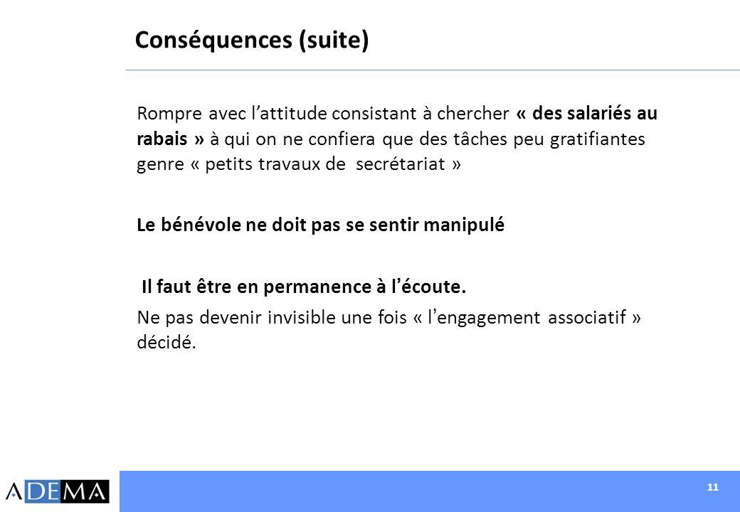 11 Conséquences (suite) Rompre avec lattitude consistant à chercher « des salariés au rabais » à qui on ne confiera que des tâches peu gratifiantes ge