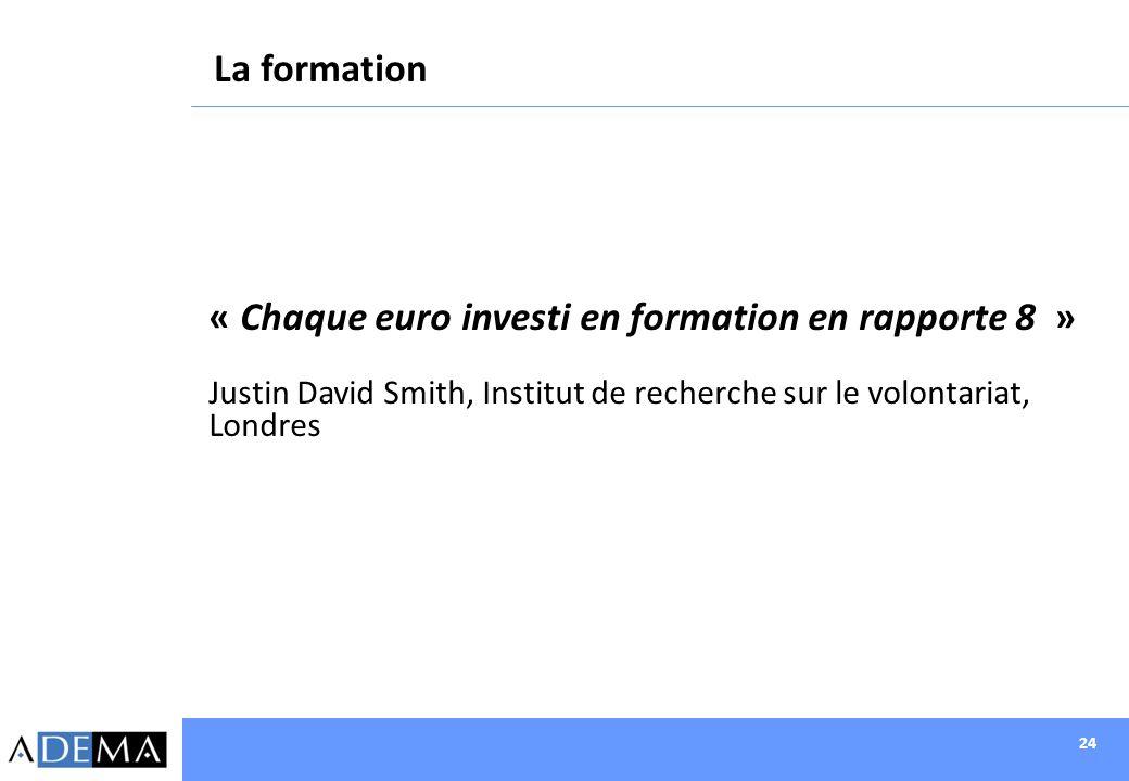 24 « Chaque euro investi en formation en rapporte 8 » Justin David Smith, Institut de recherche sur le volontariat, Londres La formation