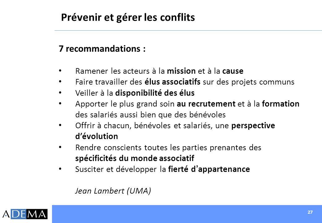 27 Prévenir et gérer les conflits 7 recommandations : Ramener les acteurs à la mission et à la cause Faire travailler des élus associatifs sur des pro