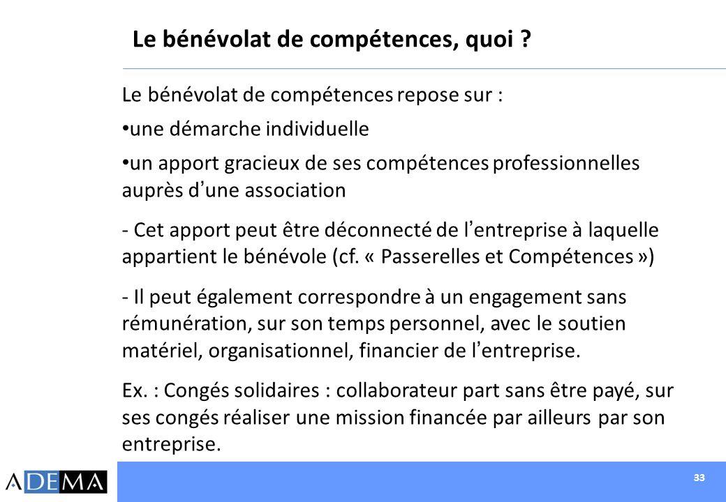 33 Le bénévolat de compétences, quoi ? Le bénévolat de compétences repose sur : une démarche individuelle un apport gracieux de ses compétences profes