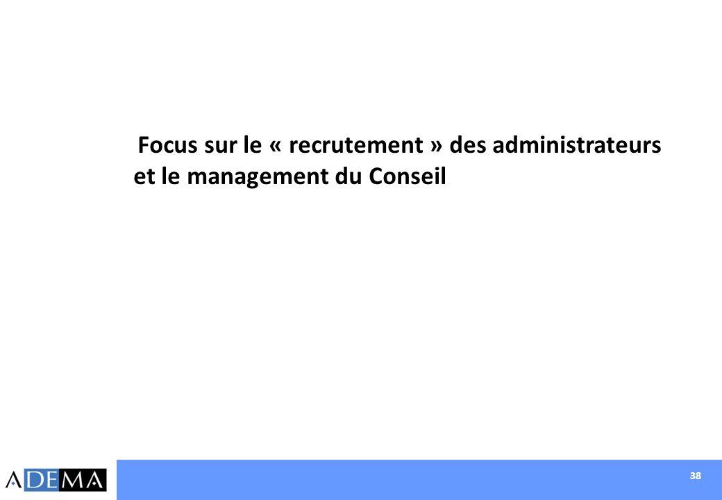 38 Focus sur le « recrutement » des administrateurs et le management du Conseil