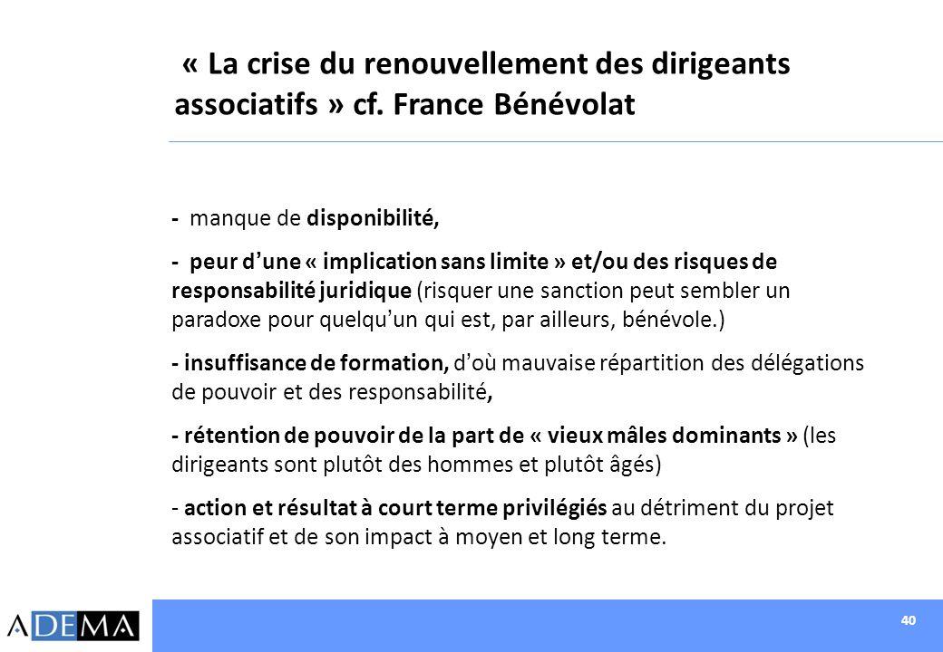 40 « La crise du renouvellement des dirigeants associatifs » cf. France Bénévolat - manque de disponibilité, - peur dune « implication sans limite » e