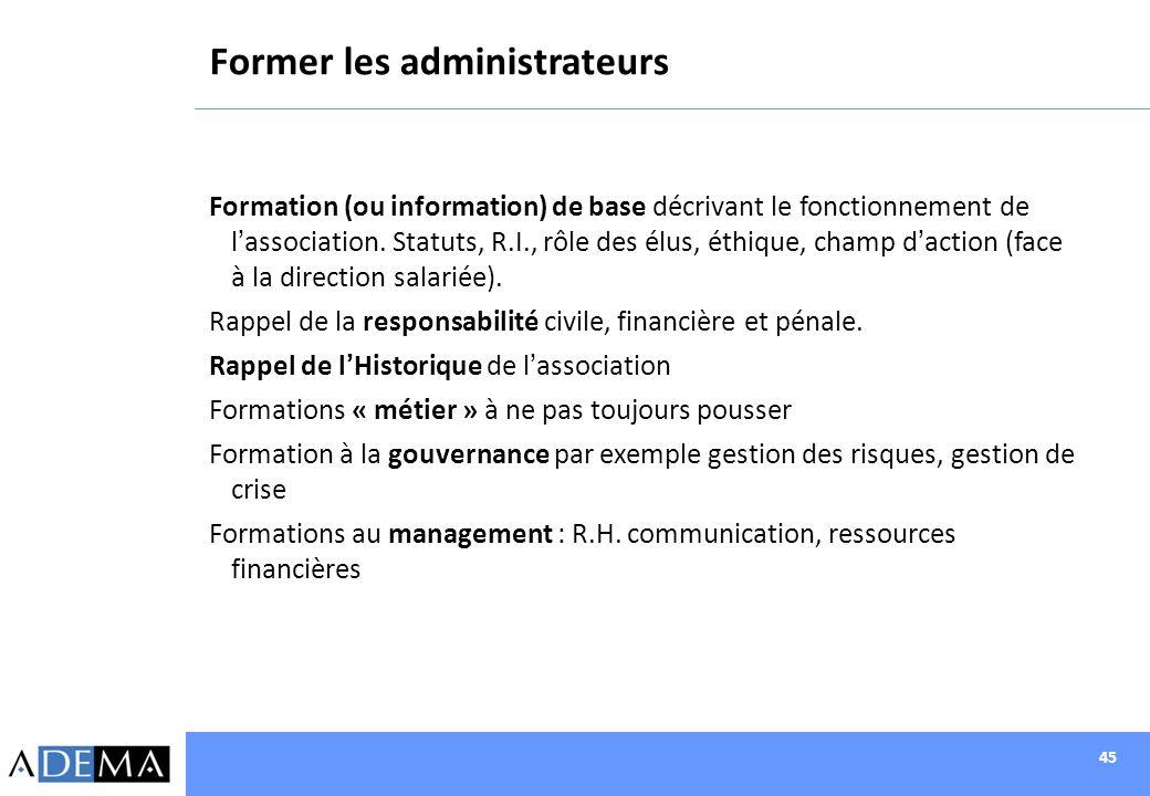 45 Former les administrateurs Formation (ou information) de base décrivant le fonctionnement de lassociation. Statuts, R.I., rôle des élus, éthique, c