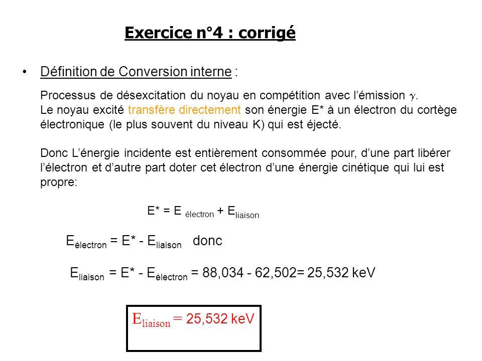 Définition de Conversion interne : Processus de désexcitation du noyau en compétition avec lémission. Le noyau excité transfère directement son énergi