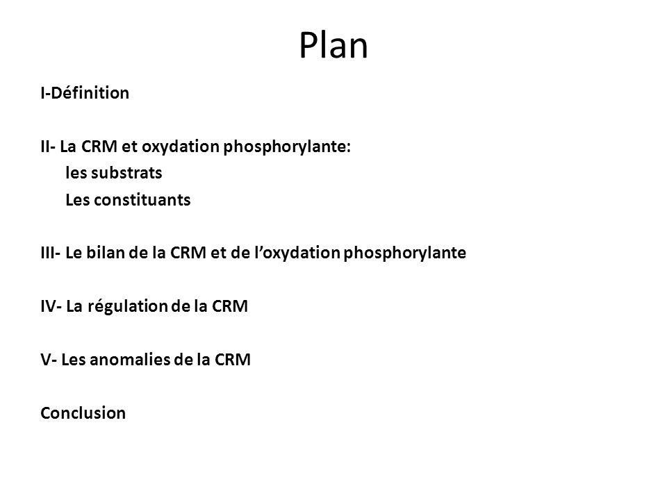 Plan I-Définition II- La CRM et oxydation phosphorylante: les substrats Les constituants III- Le bilan de la CRM et de loxydation phosphorylante IV- L