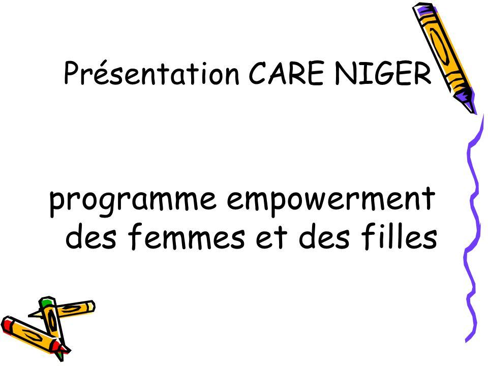 Présentation CARE NIGER programme empowerment des femmes et des filles