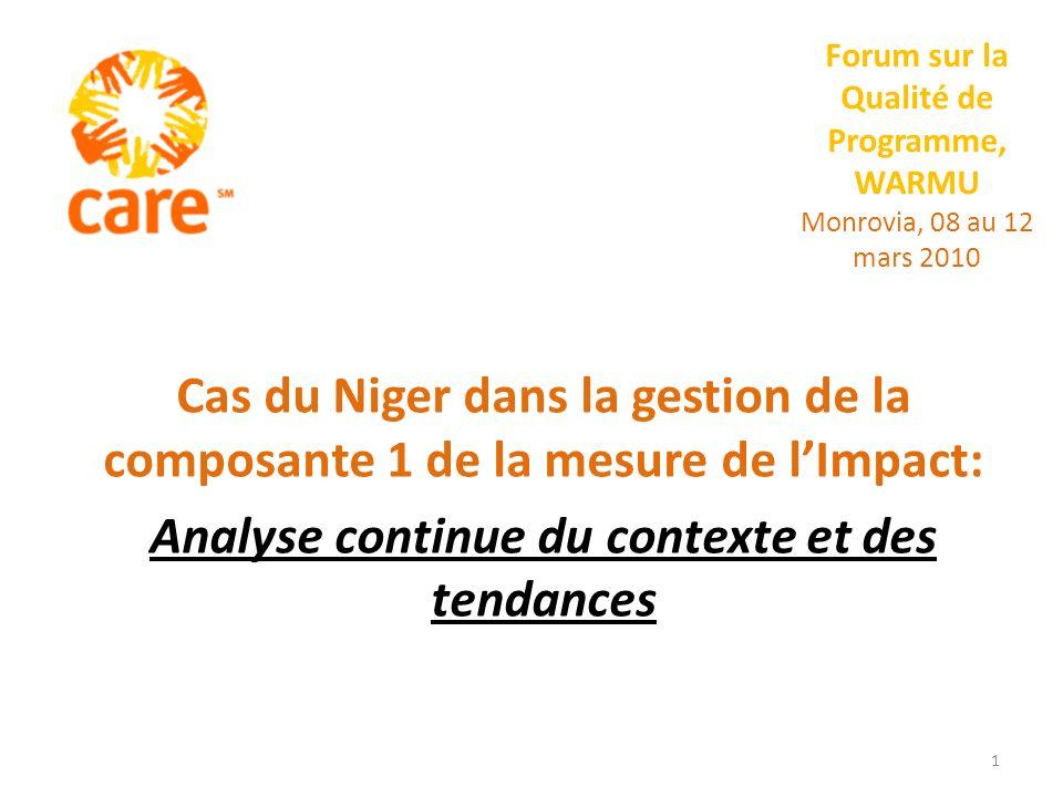 Forum sur la Qualité de Programme, WARMU Monrovia, 08 au 12 mars 2010 Cas du Niger dans la gestion de la composante 1 de la mesure de lImpact: Analyse continue du contexte et des tendances 1