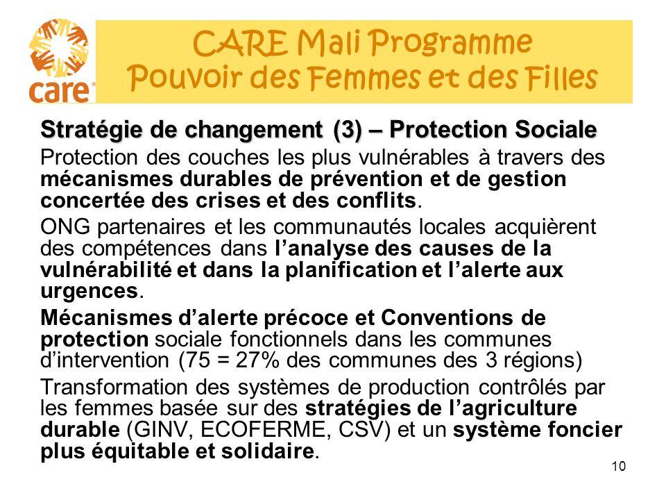 10 Stratégie de changement (3) – Protection Sociale Protection des couches les plus vulnérables à travers des mécanismes durables de prévention et de gestion concertée des crises et des conflits.