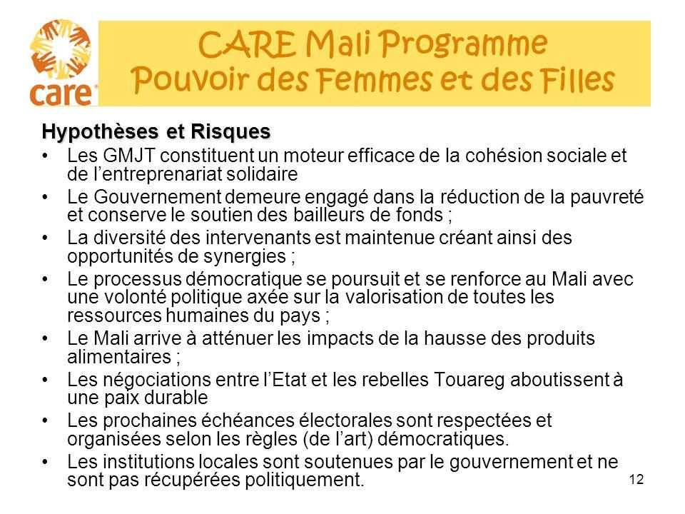 12 Hypothèses et Risques Les GMJT constituent un moteur efficace de la cohésion sociale et de lentreprenariat solidaire Le Gouvernement demeure engagé dans la réduction de la pauvreté et conserve le soutien des bailleurs de fonds ; La diversité des intervenants est maintenue créant ainsi des opportunités de synergies ; Le processus démocratique se poursuit et se renforce au Mali avec une volonté politique axée sur la valorisation de toutes les ressources humaines du pays ; Le Mali arrive à atténuer les impacts de la hausse des produits alimentaires ; Les négociations entre lEtat et les rebelles Touareg aboutissent à une paix durable Les prochaines échéances électorales sont respectées et organisées selon les règles (de lart) démocratiques.