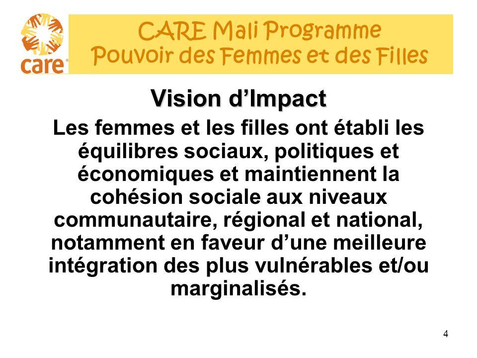 5 Analyse des Causes Profondes (1) La féminisation de la pauvreté au Mali - les écarts se creusent: Discriminations évidentes des femmes et filles en termes de revenus, de surcharge de travail, de statut sociale, déducation, de risques liés à la santé de la reproduction, dexclusion de la vie socio-politique, pour diverses raisons culturelles et sociales (polygamie, lévirat, sororat, excision) et due à une précarité nutritionnelle surtout pour celles qui sont en age de procréer (43% des femmes sont anémiées) CARE Mali Programme Pouvoir des Femmes et des Filles