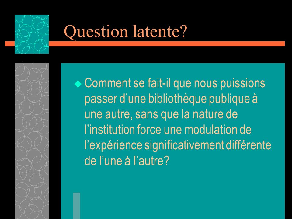 Question latente.