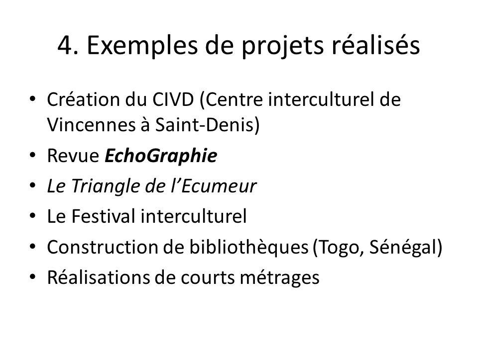 4. Exemples de projets réalisés Création du CIVD (Centre interculturel de Vincennes à Saint-Denis) Revue EchoGraphie Le Triangle de lEcumeur Le Festiv
