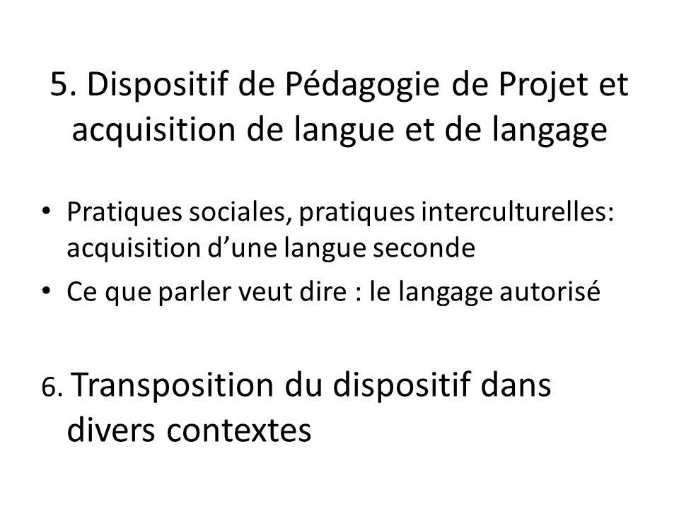 5. Dispositif de Pédagogie de Projet et acquisition de langue et de langage Pratiques sociales, pratiques interculturelles: acquisition dune langue se