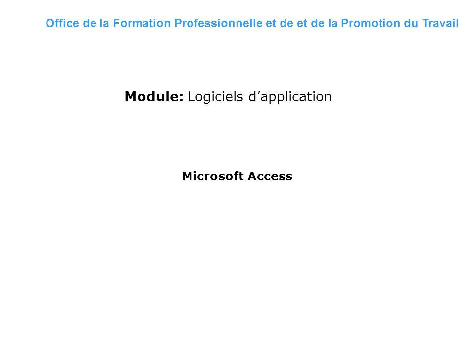 2009/2010 Formatrice: F.Z HALOUI Module: Logiciels dapplication Microsoft Access Office de la Formation Professionnelle et de et de la Promotion du Tr