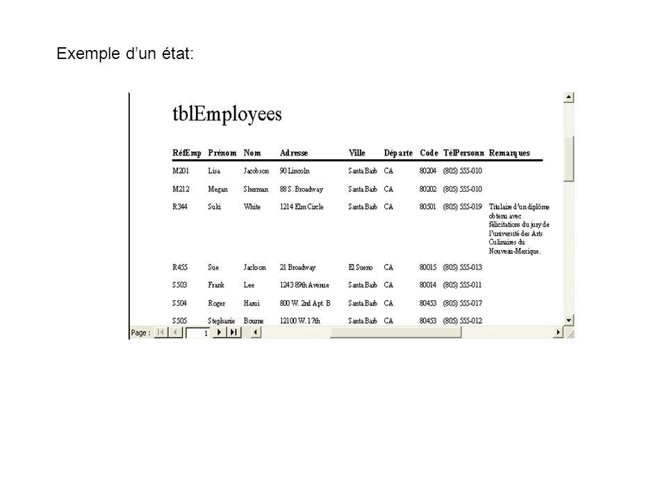 Outre les tables, les requêtes, les états et les formulaires, la barre Objets dévoile les trois types d objets suivants : Pages : désigne un raccourci à une page d accès aux données au sein d une base de données.