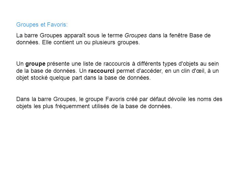 Groupes et Favoris: La barre Groupes apparaît sous le terme Groupes dans la fenêtre Base de données. Elle contient un ou plusieurs groupes. Un groupe