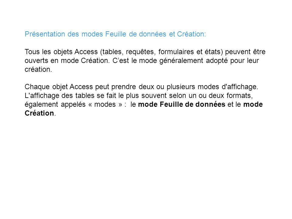 Présentation des modes Feuille de données et Création: Tous les objets Access (tables, requêtes, formulaires et états) peuvent être ouverts en mode Cr