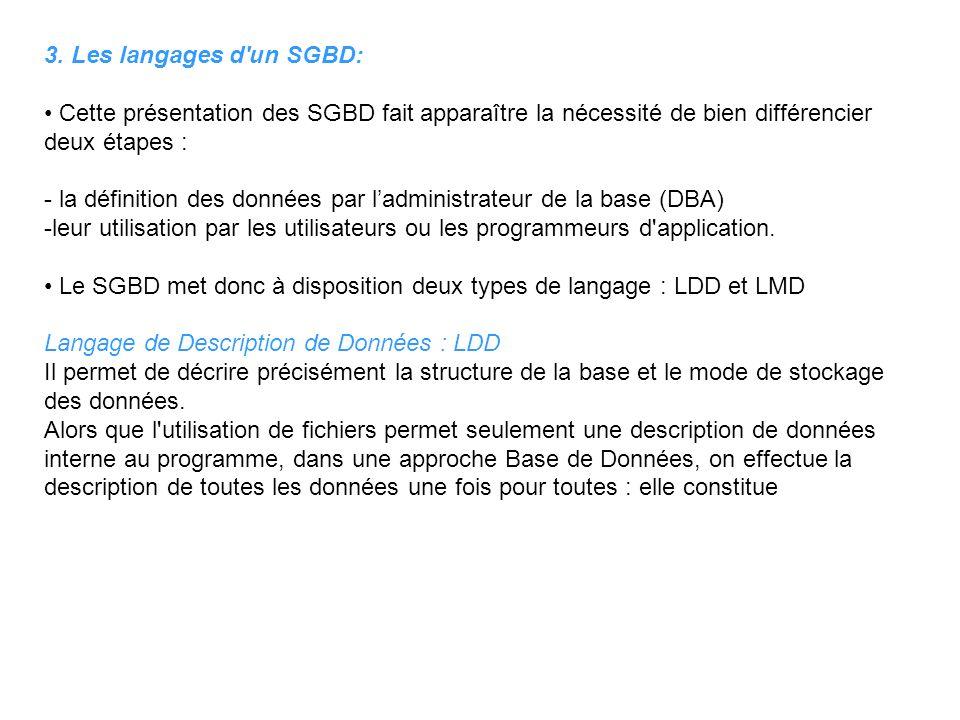 3. Les langages d'un SGBD: Cette présentation des SGBD fait apparaître la nécessité de bien différencier deux étapes : - la définition des données par