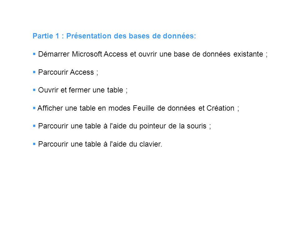 Partie 1 : Présentation des bases de données: Démarrer Microsoft Access et ouvrir une base de données existante ; Parcourir Access ; Ouvrir et fermer