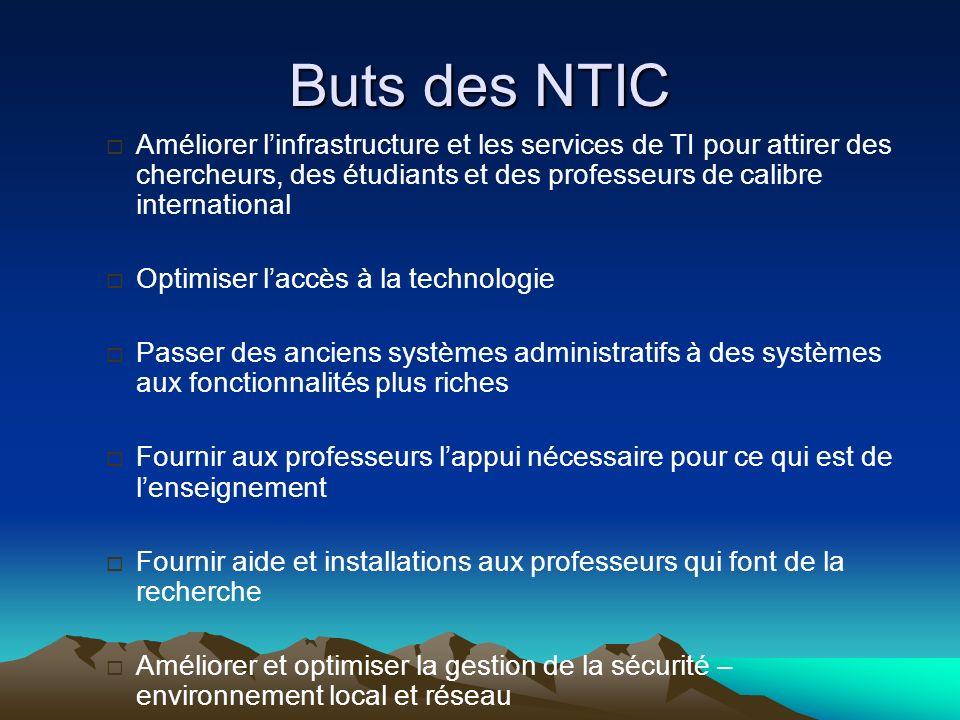 Buts des NTIC Améliorer linfrastructure et les services de TI pour attirer des chercheurs, des étudiants et des professeurs de calibre international O